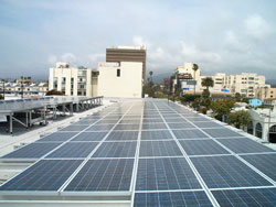 Solar Panels on rooftop of commercial building